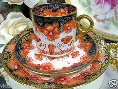 Antique Worcester Tea Cup and Saucer Trio Cobalt Imari