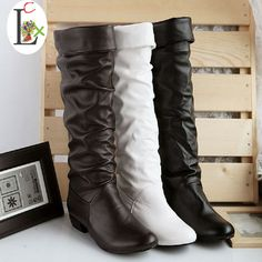 LCX Autumn and winter women boots High-leg motorcycle snow boots Black White Brown 3 color shoes wholesale Free shipping