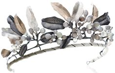 Midnight Tiara: cabochon moonstones and 1,300 brilliant cut diamonds set in rose gold, white gold, and black oxidized silver