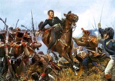 French grenadiers of the line defend against an attack by Prussian infantry in the three-day Battle of Leipzig in October 1813, dubbed the 'Battle of the Nations' due to the number of states involved, in this 1914 painting by Richard Knötel
