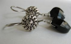 Jet black briolette Swarovski crystal Balinese oxidized sterling silver pinwheel drop earrings Wedding Dressy Casual everyday silver jewelry - pinned by pin4etsy.com