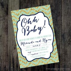 Printable Boys Baby Shower Invitation  Navy and by JaxDesigns27