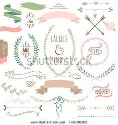 Wedding graphic set, arrows, hearts, laurel, wreaths, ribbons and labels.  by alicedaniel, via ShutterStock