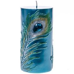 Embossed Peacock Feather Pillar Candle - 6 #MothersDay