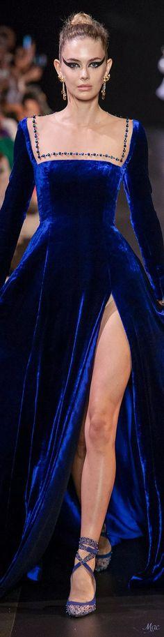 Georges Hobeika Haute Couture Details by casandra Velvet Fashion, Blue Fashion, Colorful Fashion, Runway Fashion, High Fashion, Fashion Beauty, Fashion Spring, Unique Fashion, Women's Dresses