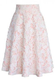My Dear Roses Lace A-line Midi Skirt