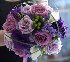 purple bouquet, lavendar roses, purple hydrangea, white calla lily, purple lisianthus, modern purple wedding bouquet, bear grass caging, white and purple bouquet, purple wedding flowers, shades of purple