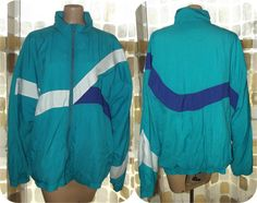 Vintage 80s Geometric Colorblock Windbreaker by IntrigueU4Ever