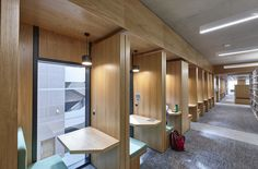 Gustafs wooden panels at Royal Holloway Library in London. Study booth cladded in oak panels. Study Areas, Study Rooms, Wood Panel Walls, Wood Paneling, Cafe Design, House Design, Wooden Cladding, Cladding Panels, Oak Panels
