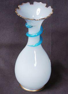 Victorian OPALINE art glass vase snake Aesthetic