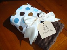 Baby Boy Blue & Chocolate Polka Dot Minky Blanket