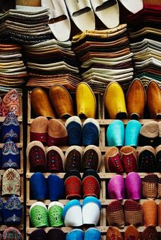 """These colorful, handcrafted leather slippers, or """"babouches,"""" are a popular souvenir."""