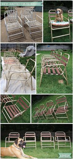 DIY patio chair redo, repurpose, wood and aluminum patio chairs, Wouldn't it be Lovely