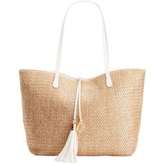 Inc International Concepts Earth Tropical Tote ($48) ❤ liked on Polyvore featuring bags, handbags, tote bags, gold straw, white handbags, white purse, tassel purse, straw tote bag and straw handbags
