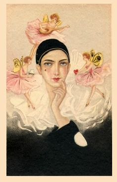 Attributed to Sofia Chiostri (Italian - Vintage Art Deco Harlequin Pierrot card Pierrot, Clown Paintings, Custom Wraps, Old Postcards, Butterfly Wings, Love And Light, Vintage Art, Illustrators, Fairy Tales