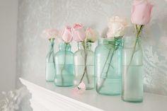 Make vintage mason jars using spaghetti jars, food coloring, and glue!