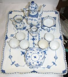 ROYAL COPENHAGEN BLUE FLUTED FULL LACE TEA SET