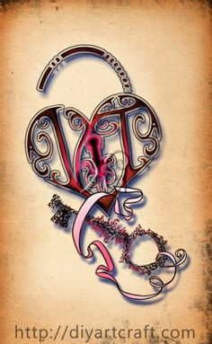 #tattoo #monogram VT #heart padlock and key