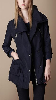 Burberry Funnel Neck Rain Coat