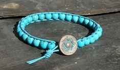Turquoise bead and leather bracelet, gemstone for December £12.00