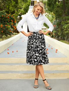 Taking its cue from vintage wallpapers, this full-skirt silhouette creates casual elegance with a scallop hem. Day or date, our new twist on a classic fit fabulously dresses to impress. | Talbots