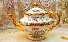 Beautiful vintage Copeland Spode teapot with milk jug sugar bowl and dish