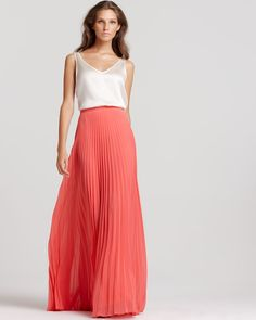 Halston Heritage Pleated Maxi Skirt