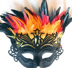 Fire Phoenix Feather Mask New Years Party/Adult by sajeeladesign