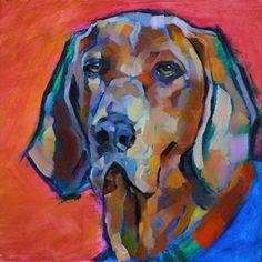 Louisiana Edgewood Art Paintings by Louisiana artist Karen Mathison Schmidt: Dog painting work-in-progress