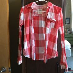 Abercrombi Red Plaid Button Down! INCREDIBLE COLOR!!! Slightly worn and in GREAT condition! Super comfy, light material! Great for summer bonfires! Abercrombie & Fitch Tops Button Down Shirts