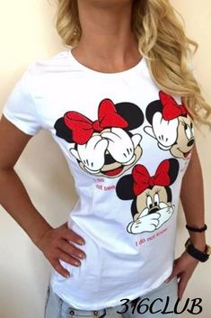 Women Casual T Shirt Short Sleeve Minnie Print Summer Top Summer Tshirts, Women Brands, Casual T Shirts, T Shirts For Women, Cotton, Clothes, Tops, Sleeve, Fashion