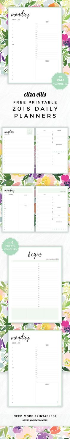 Free Printable 2018 Irma Daily Planners in Mint // Eliza Ellis. Awesome 2018 daily planners and diaries that are absolutely free - print to A4 or A5 and available in 6 colours. Great planners for work, home, SAHMs, WAHMs, students, college, university, teachers and mums!
