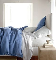 10 Quick Changes To A Better Bedroom. Love the periwinkle & white bedding with the light gray walls