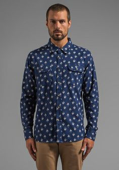 Obey Early Bird Flannel L/S Shirt with Bird Print in Indigo