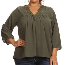 Just a touch of Crochet Detail in plus size woman boutique style clothing you will love   enjoy looking super cute in this flattering more to love top
