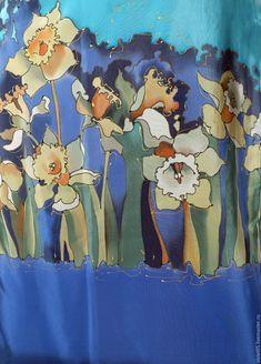 Купить Escape (40-42 р) Платье с нарциссами - ручная роспись по ткани, авторская одежда