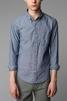 chambray with white buttons. doesn't love collar buttons.