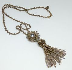 Cosmos Tassel Necklace  Golden Taupe