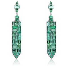 Sutra will be bringing plenty of neon-bright Paraiba tourmalines, including these 28.31ct Paraiba and diamond earrings (US$87,340), to the Couture Show Las Vegas.