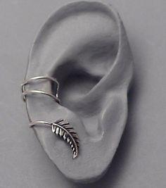 """Silver Leaf EAR CUFF - """"New Leaf"""" Swirly Sterling Silver Ear Cuff for RIGHT ear"""