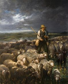 A Shepherd and his Flock - Charles-Emile Jacque