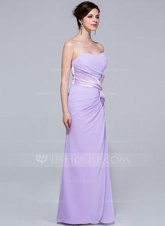 Sheath/Column Sweetheart Floor-Length Chiffon Bridesmaid Dress With Ruffle (007037302)
