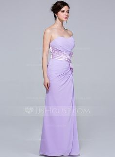 Sheath/Column Sweetheart Floor-Length Chiffon Bridesmaid Dress With Ruffle (007037302)