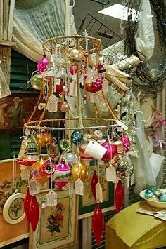 Pretty way to display vintage ornaments