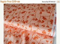 SALE Organic Cotton Fabric, Quilting Weight textile,  Kangaroo Paw Orange from Cloud9, Certified Organic Cotton