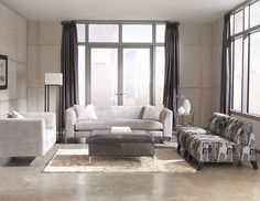 Our Mitchell sofa set in grey toned fabrics is modern sophistication.