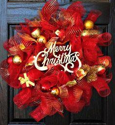Christmas Wreath   Home Decor   Deco Mesh Wreath   Holiday Wreath   Custom Wreath   Handmade Wreath. $50.00, via Etsy.