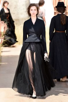Couture Paris Fashion Week: Christian Dior's classic cosmopolitan passenger | Black jacket over sheer tulle skirt | The Luxe Lookbook