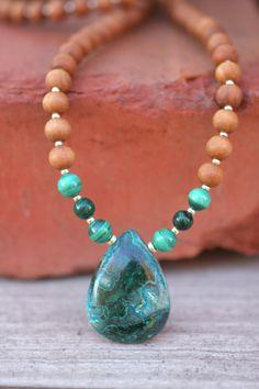Malachite with Chrysocolla Sandalwood Mala - One of a kind  - Mediation Inspired Yoga Beads