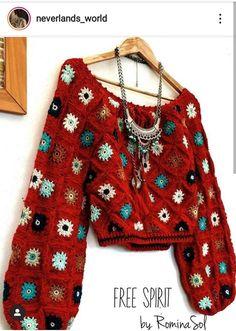 Free Spirit By Rominasol Crochet Cardigan, Crochet Jacket, Cardigan Pattern, Hippie Pullover, Crochet Clothes, Diy Clothes, Crochet Granny, Knit Crochet, Mode Crochet